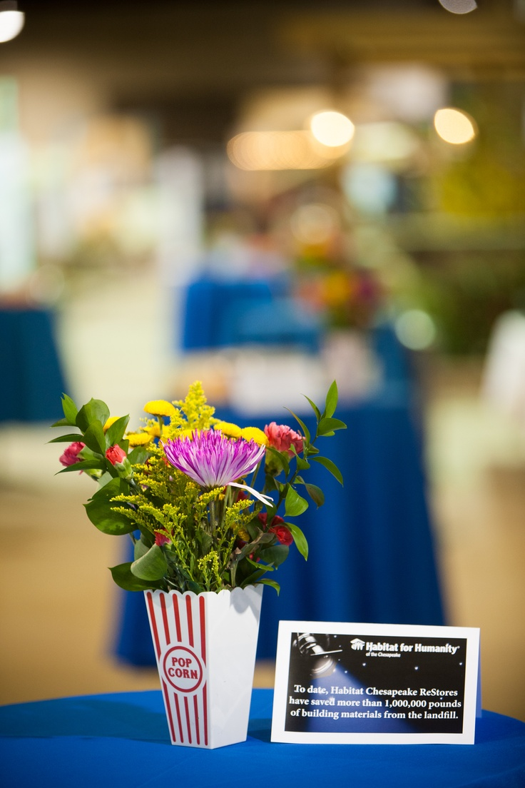 Movie themed table decorations at the volunteer