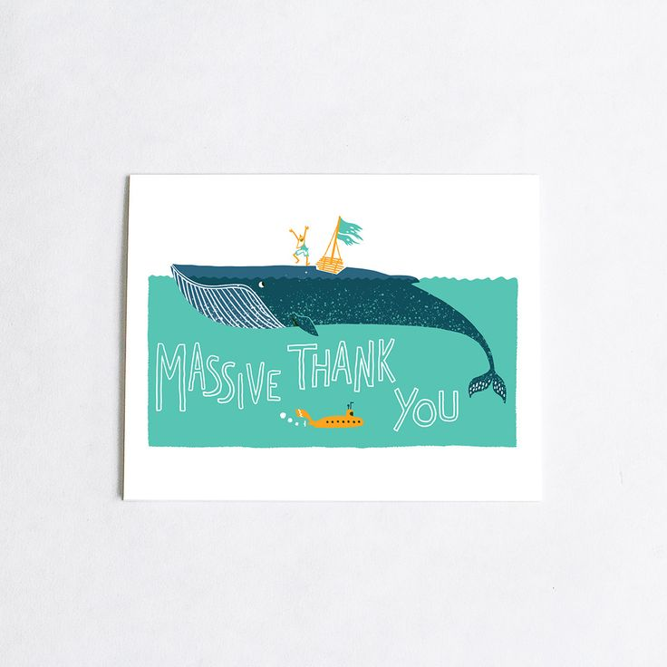wedding thank you cards time limit%0A Forest and Waves Thank You Whale Card