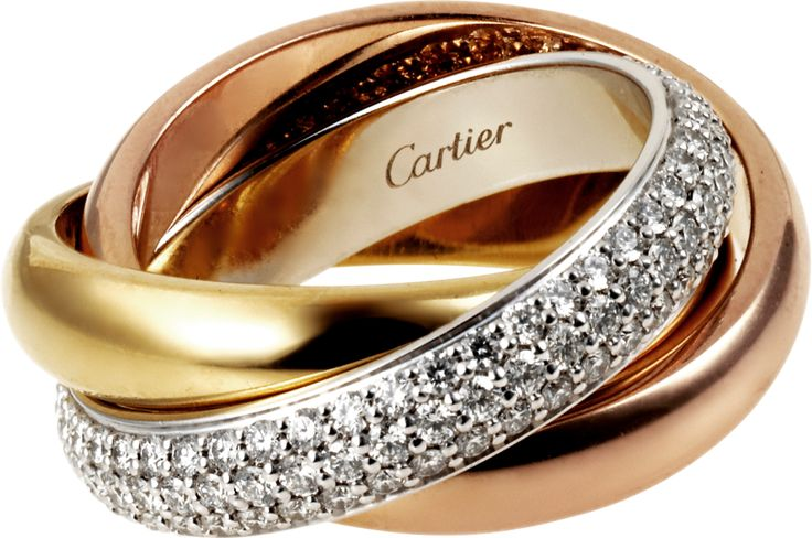 Trinity de Cartier ring, classic White gold, yellow gold, pink gold, diamonds. The different colours of gold signify the most important elements in a marriage union: friendship, fidelity and love. AUD 17,400