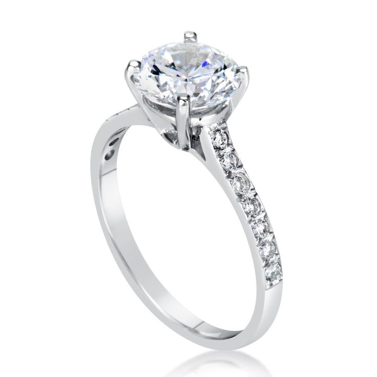 Diamond Look Engagement Ring 2 Carat Round Cut 14k White Gold Bridal Jewelry #Vivre #Engagement