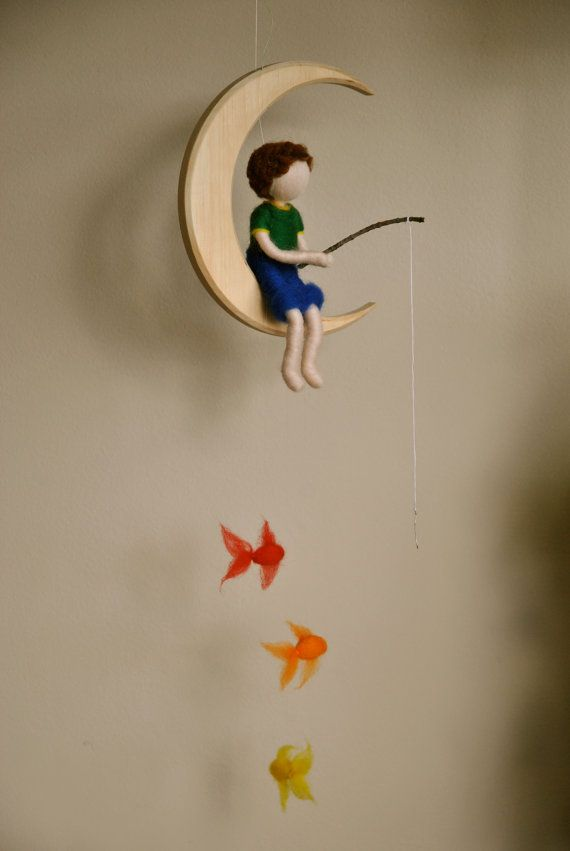 Boys Mobile Waldorf inspired needle felted : The fishing boy  in the moon with three fishes. on Etsy, $72.72 AUD