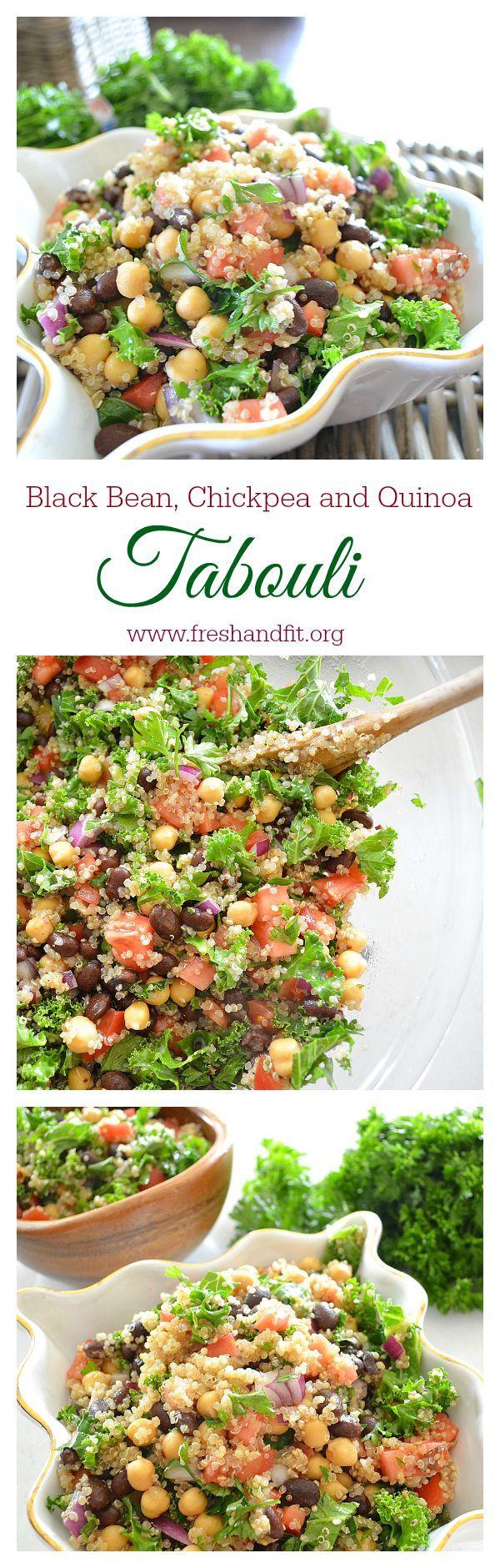 Black Bean, Quinoa and Chickpea Tabouli