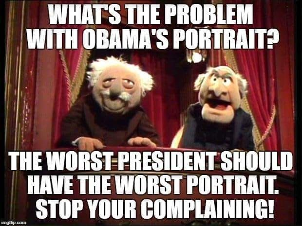Well at least Obama's portrait looks like him. I don't know who that is in Michelle's portrait because it damn sure isn't her and I've seen highschool art that looked better than that.