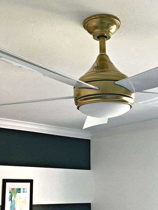 One Room Challenge Painting Party Week 3 Gold Ceiling Fan