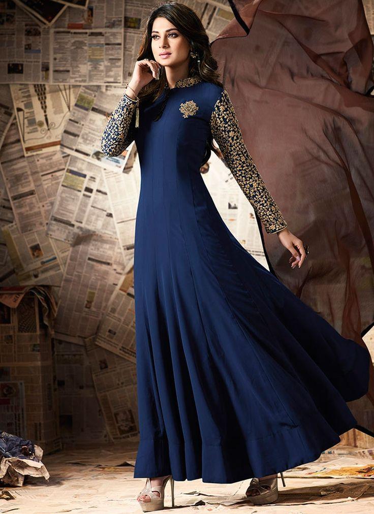 Buy Arresting Jennifer Winget Navy Blue Zari Work Floor Length Anarkali Suit  #salwarkameez #anarkalisuits #womensuits #anarkalifashion #salwarkameezsale #glamor #glamorous