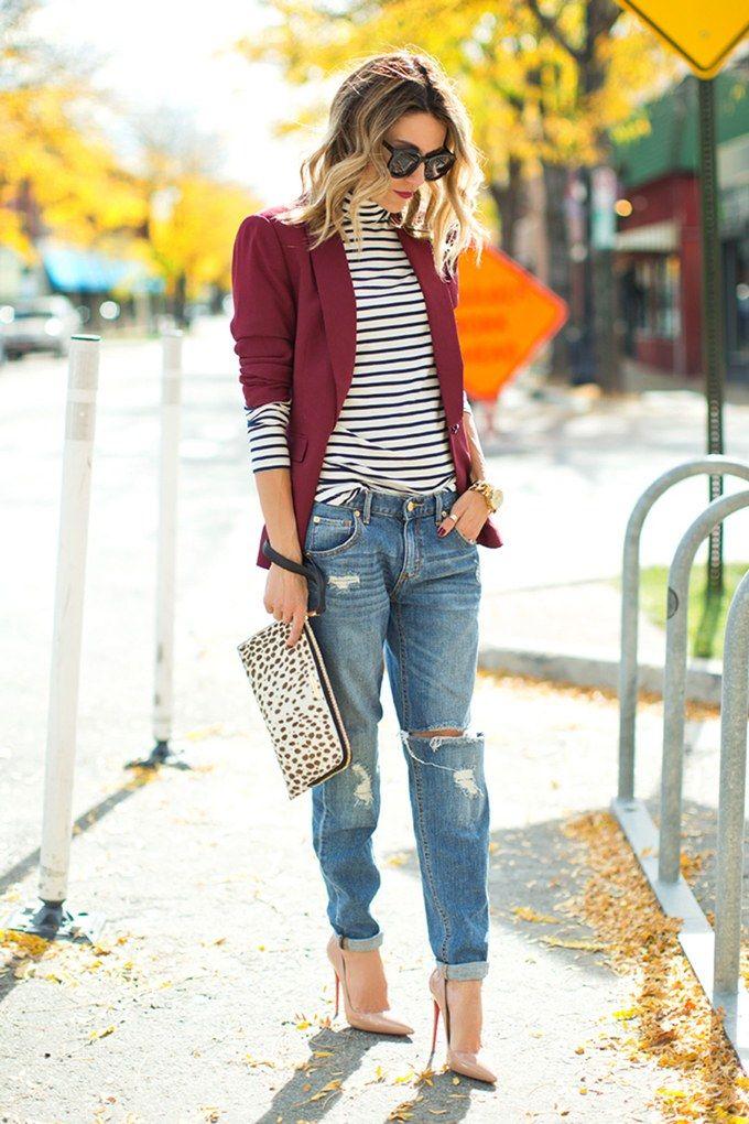 fall turtleneck striped blazer jeans hello fashion