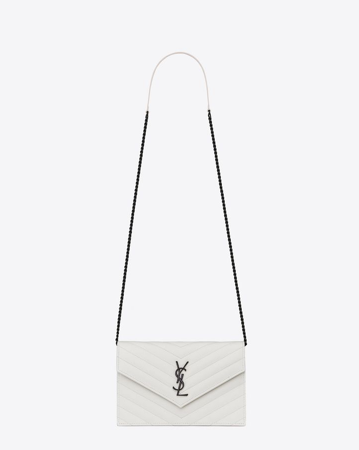 Saint Laurent MONOGRAM SAINT LAURENT Envelope Chain Wallet In Dove ...