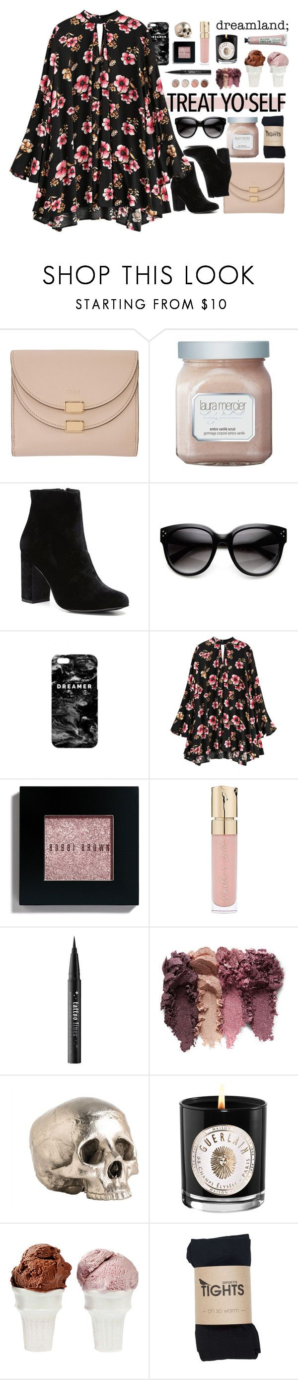 """""""treat yo'self"""" by forebodinq ❤ liked on Polyvore featuring Chloé, Laura Mercier, Witchery, Mr. Gugu & Miss Go, Bobbi Brown Cosmetics, Smith & Cult, Kat Von D, Arteriors, Guerlain and Terre Mère"""