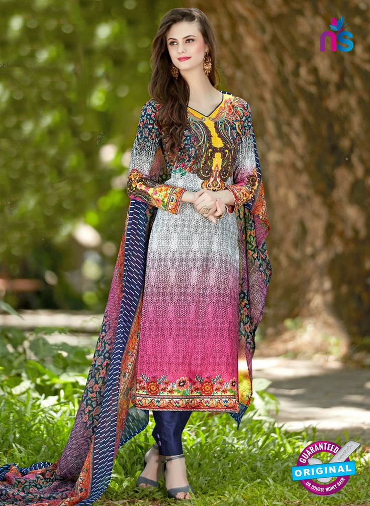 SC 12955 Blue, White and Pink Camric Lawn Pakistani Suit
