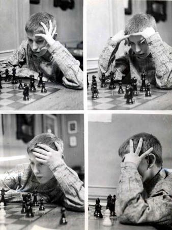 A young Bobby Fischer fidgets, plays chess, 1956.