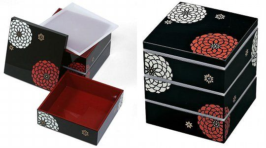 three tier japanese hyakka bento lunch box traditional lacquer design lunchbo. Black Bedroom Furniture Sets. Home Design Ideas