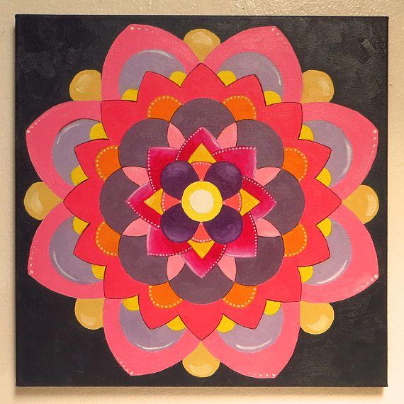 Purple Mandala Zen and Meditation Modern Mandala Mantra #oilpainting #handpainted #originalart #mikimayo  #mandala, #zen