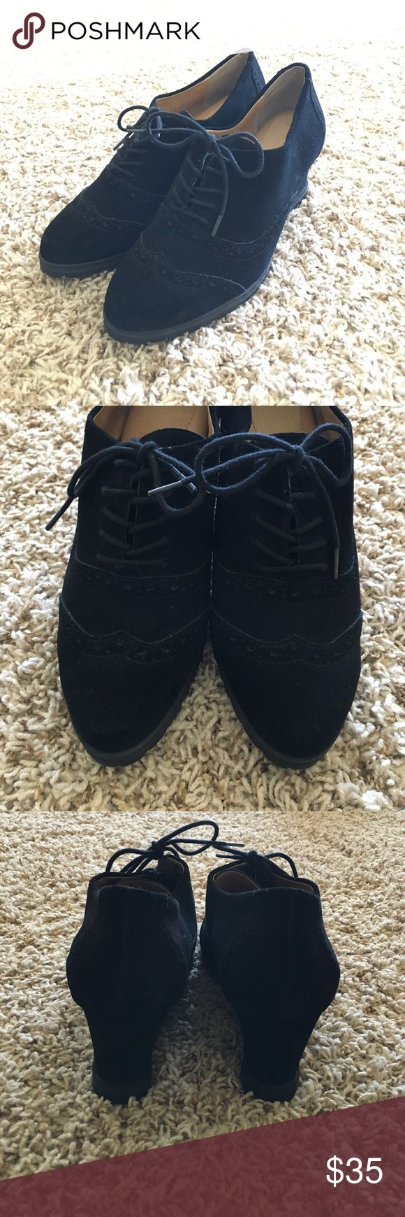 Ellen Tracy Black Suede Oxford Wedges Cute black suede oxfords. They have a wedge and rubber soles. Very comfy with soft and comfy insoles. Practically new. Approximately 2.5 in heel. Ellen Tracy Shoes