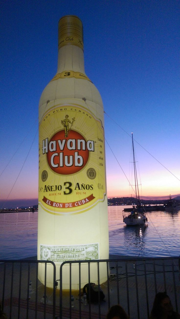 Inflatable promotional bottle for Havana Club