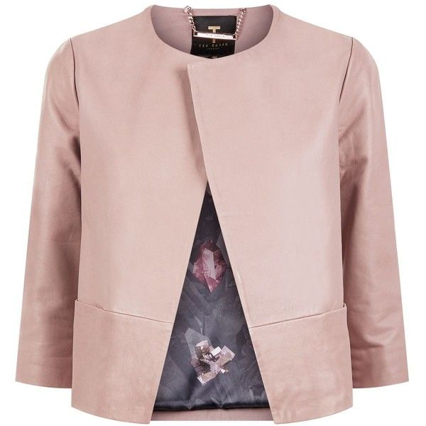 Ted Baker Rennay Leather Jacket (815 ILS) ❤ liked on Polyvore featuring outerwear, jackets, open front jacket, 100 leather jacket, leather jackets, pink leather jackets and real leather jackets