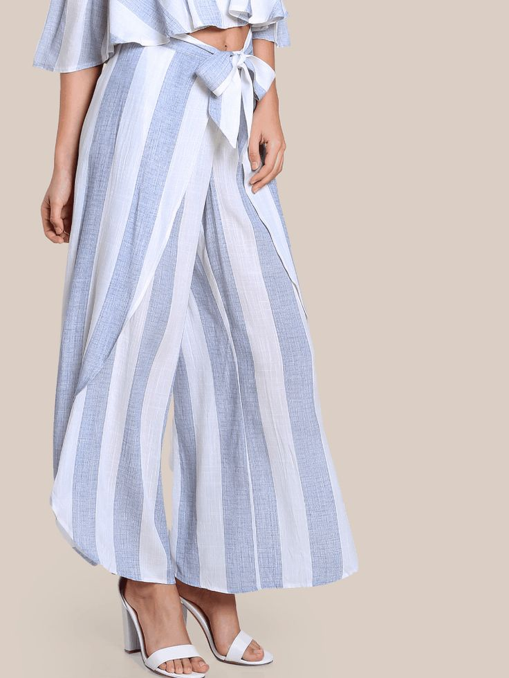Front Tie Striped Overlap Pants #Clothing#Dresses#Tops#Tees#Sweaters#Fashion#Hoodies#Sweatshirts#Jeans#Pants#Skirts#Shorts#Leggings#Active#Swimsuits#Cover#Ups#Lingerie#Sleep#lounge#Jumpsuits#Rompers#Overalls#Coats#Jackets#Vests#Suiting#Blazers#Socks#Hosiery