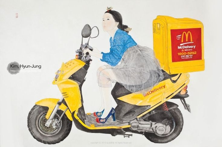 """Feign : YouMove Me"", Painting with Korea traditional ink, color andcollage  on Traditional Asian paper 130 x 196 cm, 2013. I think the way she depicts irony and with through a kind of tomboy behind a classic and elegant appearance is interesting. Also, I appreciate the way she produces her work. It is interesting how she sketched a character nude then supplemented semi-transparent colored clothes."