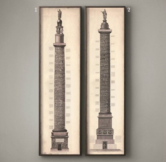 Trajan's Column Etchings Prints. These prints are very similar to the Restoration Hardware Trajan's Column Etchings, but were not printed and are not affiliated with Restoration Hardware. These come in a couple different sizes and selection options for a fraction of the price! Check us out