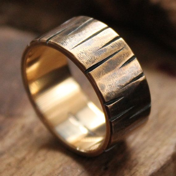 Mens wedding ring 18k solid rustic gold wedding band steampunk ring unique pattern texture wide Design 030