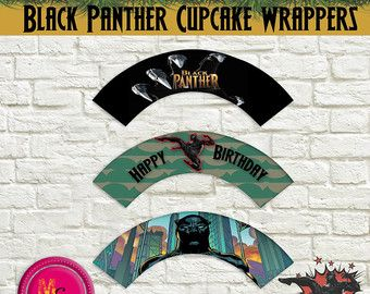 Black Panther Birthday Cupcake Wrappers Printable, Civil War Cupcake Wrapper, Marvel Black Panther Party, Civil War Party, Superhero Wrapper