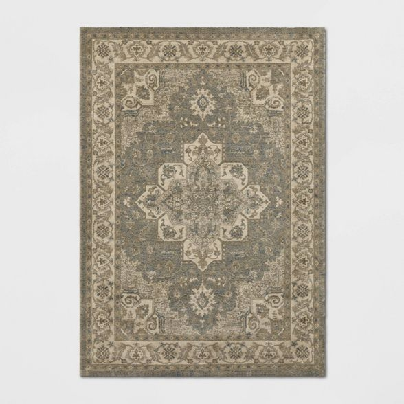 Medallion Jewel Boarder Persian Rug Cream Gray Threshold Rugs Area Rugs Persian Rug