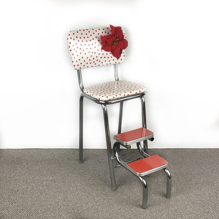 Vintage Step Stool Kitchen Stool Chair Upcycled Chair