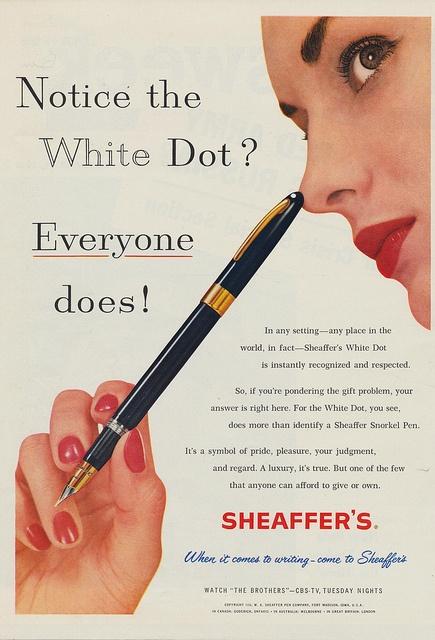 "Vintage Sheaffer's pen ad, showing a ""Thin Model"" Snorkel."