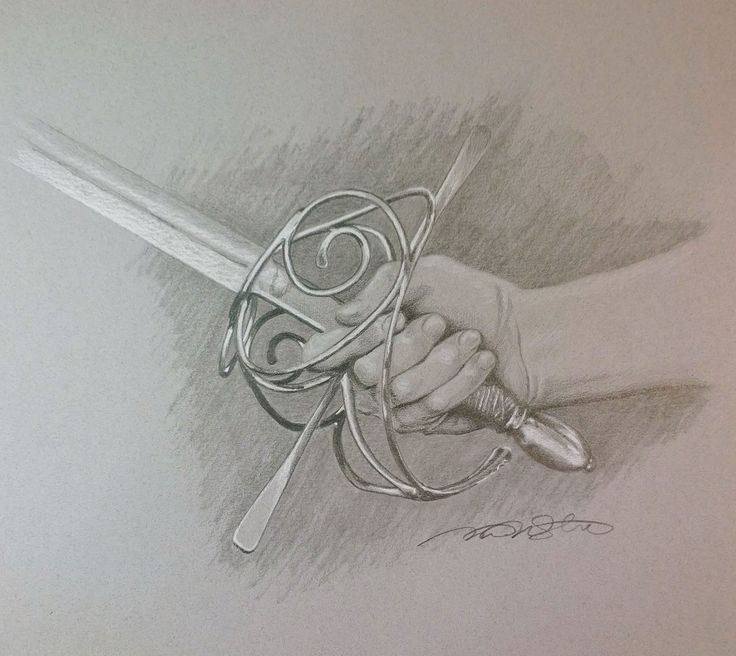 """Sword in Hand"" 9 x 9 Pencil and Pastel ~ Drawn by: Michael P. McIntee"