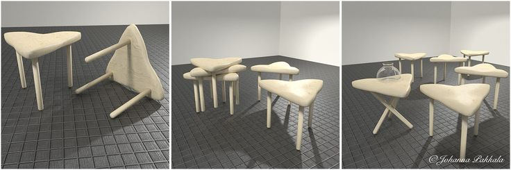 Triangle stools made with Blender 3D. © Johanna Pakkala. – 3D furniture, 3D modeling.