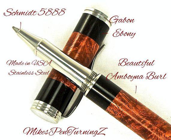 Custom Wooden Pen Rollerball Amboyna Burl with by MikesPenTurningZ, $199.00