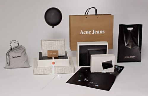 Swedish label Acne Jeans puts as much effort into packaging as the products they offer. The studio, the creative process and the products themselves are all sources of inspiration to the packaging and communication of Acne Jeans. Some packaging items even share the same buttons, laces or textiles with the clothes they are supposed to carry.