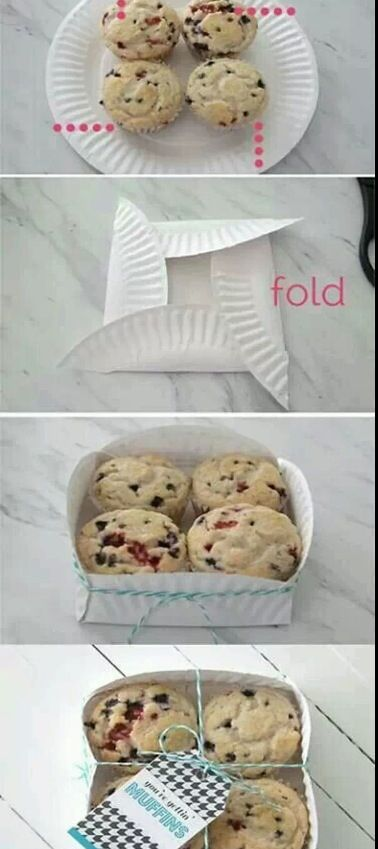 Paper plate muffin/cookie holder
