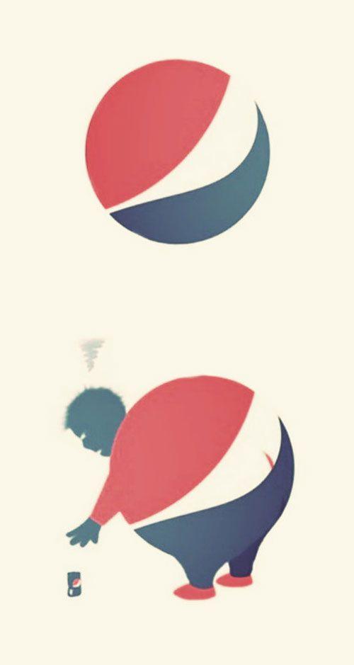 콜라를 마시면 체중이 늘어난다는걸 펩시 로고를 사용해 재미있게 표현했다 honest ads...