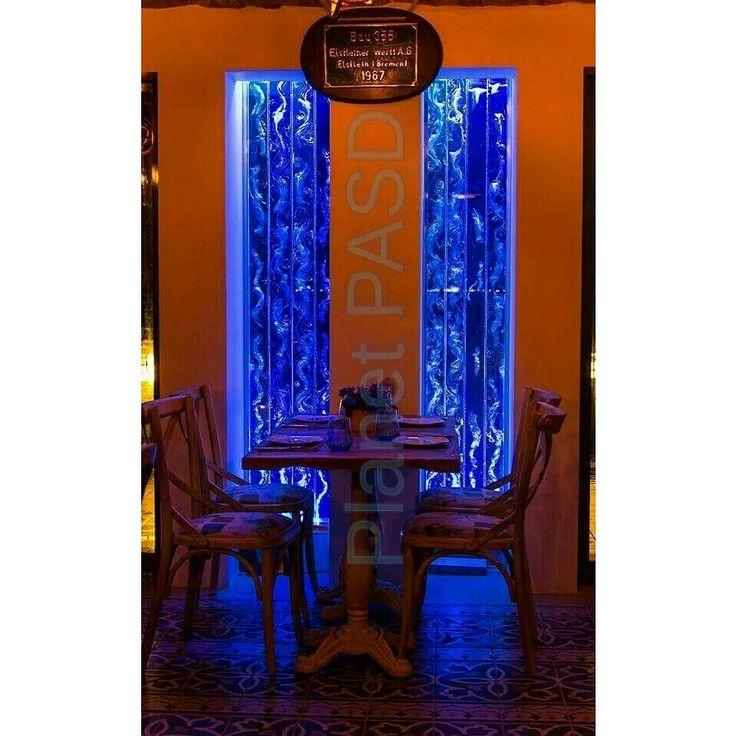 Urla cafe cephesi. Cafe, facade, blue, bubblewall, baloncuk duvarı, İzmir, Türkiye.