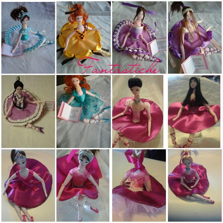 Collage di Giulia con Giuline (le bomboniere che le ho fatto per la sua Prima Comunione, bambole di pezza disegnate e cucite a mano) piccole ballerina per la mia Ballerina.