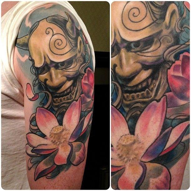 Hannya lotus flower tattoo tattooistartmag for Japanese mask tattoo