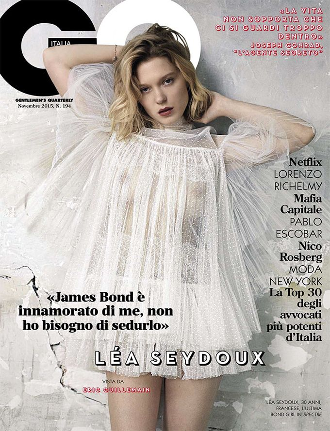 "Звезда ""Спектра"" Леа Сейду (Lea Seydoux) украсила ноябрьский GQ Italy. Леа Позировала Эрику Гиймэну (Eric Guillemain)."