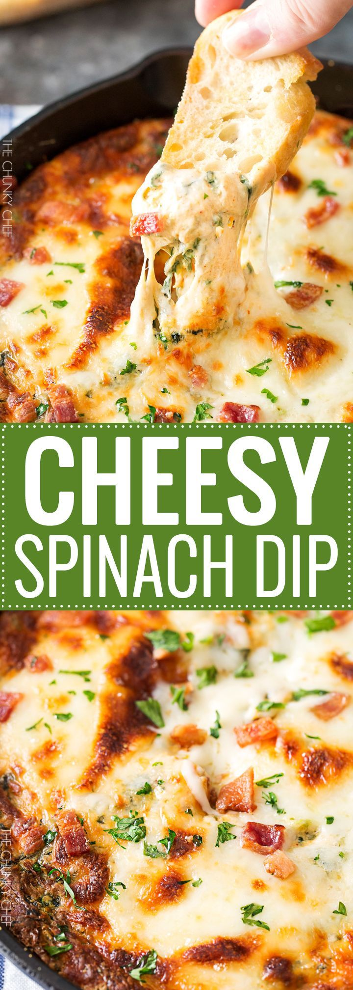 Cheesy Bacon Spinach Dip | This party spinach dip is loaded with tons of spinach, gooey cheese, crispy bacon and other mouthwatering flavors. Combine, bake, and eat! Perfect for a party! | http://thechunkychef.com