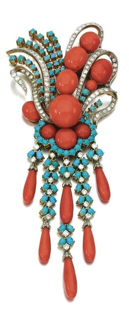 Coral, turquoise and diamond clip-brooch. Set with cabochon coral and turquoise and circular- and single-cut diamonds, a detachable fringe similarly set and terminating on coral drops