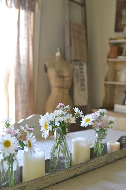daisies, candles