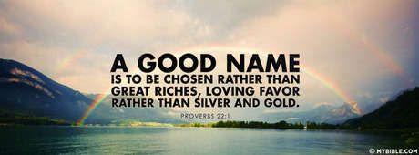 Proverbs 22:1 NKJV - A Good Name Over Riches. - Facebook Cover Photo