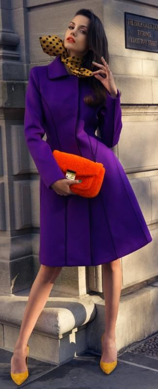 Gotta have some bright colors sometimes! --- Purple coat, orange clutch, yellow pumps #MACxNastyGal