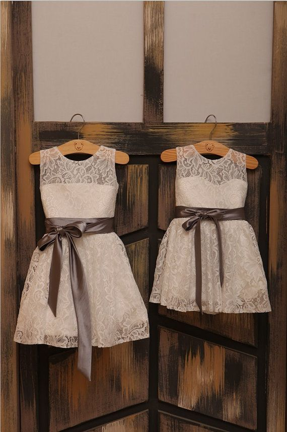 Ivory Lace Flower girl Dress Baby Girl Dress with Sash by deepado, $42.99 @Victoria Brown Brown Brown Brown Maciel  THESE ARE SO CUTE!!!!!!!!!