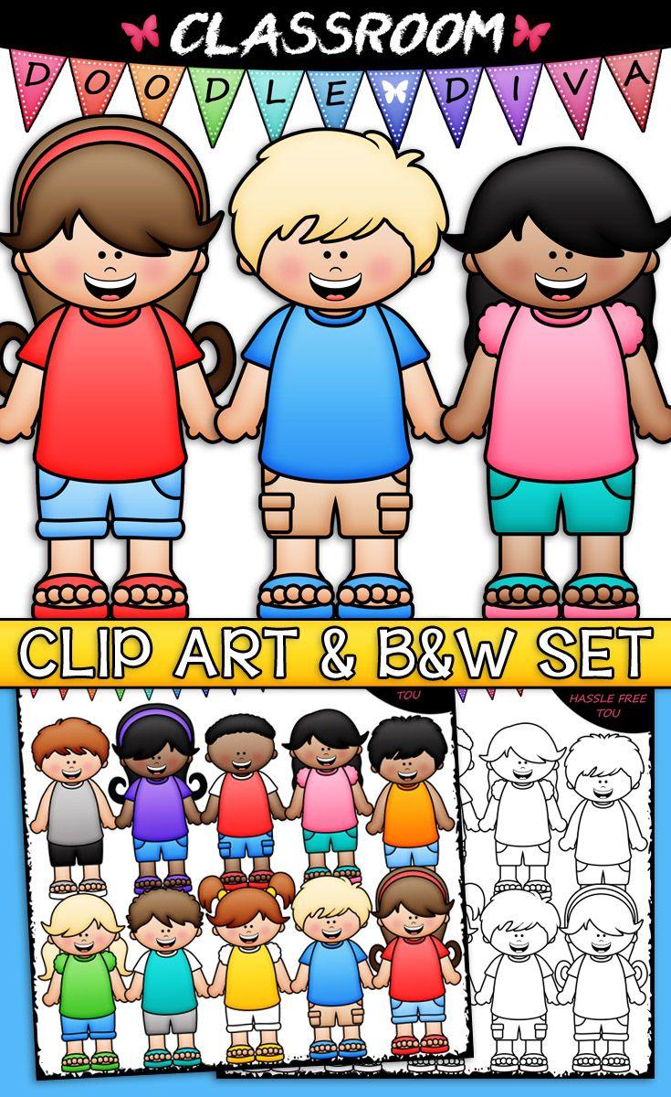 Big Grin Dressed For Summer Kids Clip Art B W Set Kids Clipart Summer Kids Kids Classroom