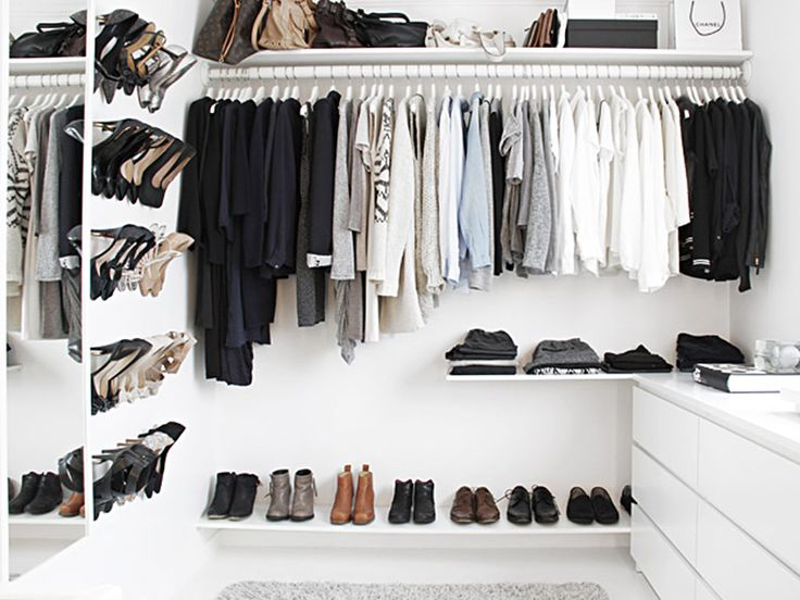 Black And White Closet Using Ikea // Walk In Closet.DIY Shoe Rack Created  With A Series Of Ikeau0027s BYGEL Towel Rods And Spray Painted Gold Is Brilliant