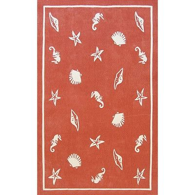 """American Home Rug Co. Beach Rug Coral Shells and Seahorses Novelty Rug Rug Size: 3'6"""" x 5'6"""""""