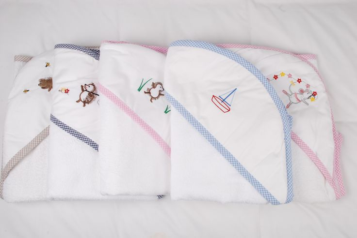 Practical and beautiful - a lovely baby gift too. Hood towels to wrap around baby after bathing. The hood keeps his/ her head warm and dries the hair nicely while the rest of the towel wraps around babies' body.