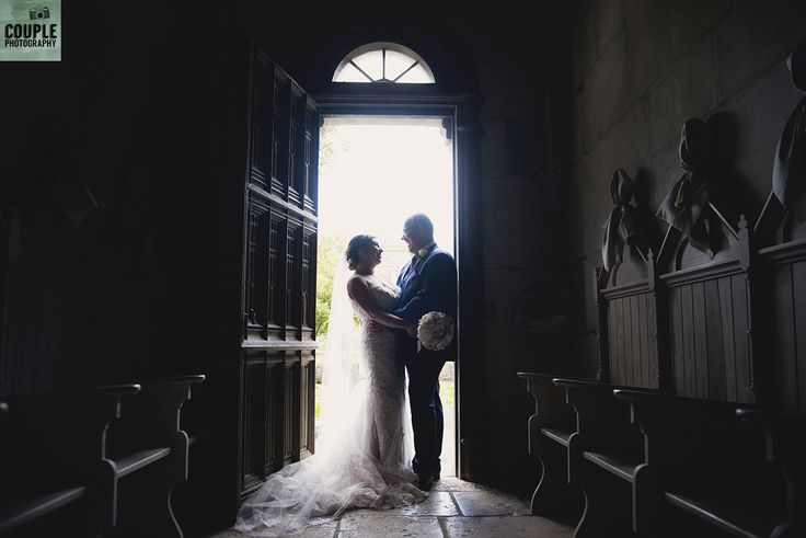 Against the light in the chapel at Cliff at Lyons. Wedding by Couple Photography https://www.couple.ie