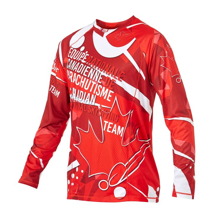Infinite Skydiving Jersey in Nations Heart colorway — at Manufactory Apparel.  — Products shown: Infinite Skydiving Jersey for Canadian National team 2017  #customskydivingjerseys #getintoskydiving #skydive #jerseys
