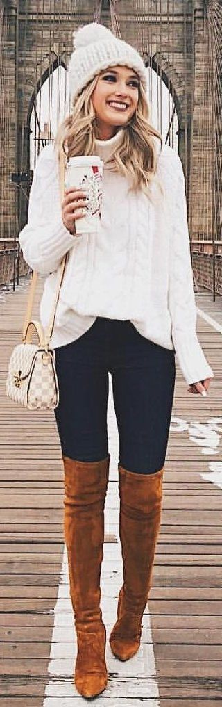 #winter #outfits white sweater and white beanie